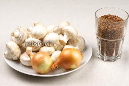 Для приготовления гречневой каши с жареными шампиньонами возьмём гречневую крупу, грибы, репчатый лук и специи.