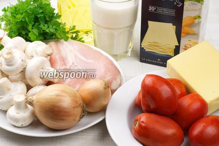 Для приготовления лазанья возьмём такие продукты: листовое тесто для лазаньи, куриное филе, шампиньоны, помидоры, зелень, твёрдый сыр; для соуса — молоко, муку, сливочное масло и мускатный орех.