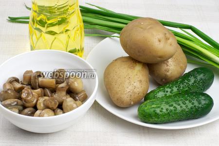Для приготовления салата возьмём картофель, свежие огурцы, зелёный лук, растительное мало и грибы. В салате использовала  домашние маринованные шампиньоны .