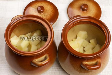 На дно горшочков выложить картофель, заполнив приблизительно половину.