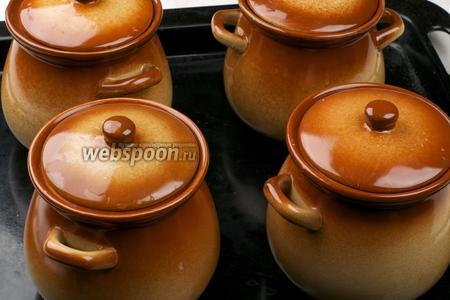 Закрываем горшочки крышками или фольгой и ставим в разогретую до 180 °С духовку на 50-60 минут.