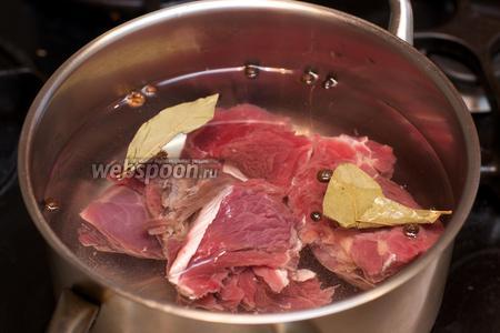 Говядину предварительно отварить: для этого мясо хорошо помыть, залить холодной водой, добавить душистый перец, лавровый лист и щепотку соли. Довести до кипения и варить на медленном огне 1-1,5 часа. Затем мясо остудить.