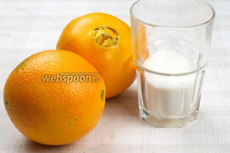 Для приготовления напитка возьмём апельсины, сахар, воду и корицу.