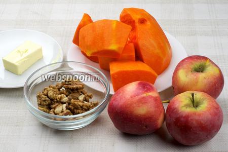 Для приготовления десерта возьмём тыкву, яблоки, сахар, сливочное масло, грецкие орехи и корицу.