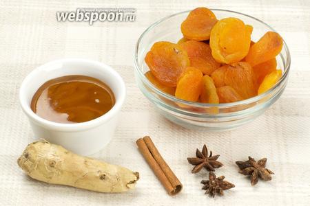 Для приготовления напитка нам понадобятся такие продукты: курага, имбирь, корица, бадьян и мёд.