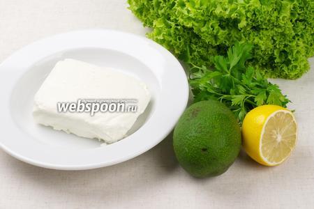 Для приготовления закуски возьмём творог жирностью 9%, спелый авокадо, небольшой пучок петрушки, листья салата и цедру лимона.
