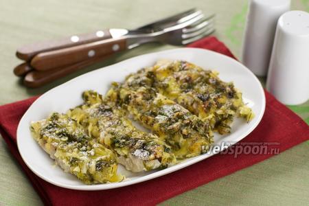 Филе судака под сыром с зеленью
