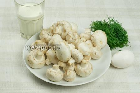 Для приготовления блюда возьмём шампиньоны, небольшой пучок укропа, яйцо, сливки жирностью 25%, растительное масло и специи.