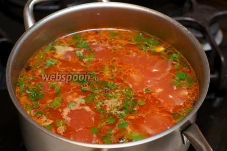 Дать закипеть супу, добавить мелко порезанную петрушку — варить всё вместе 2-3 минуты, добавив соль по вкусу.