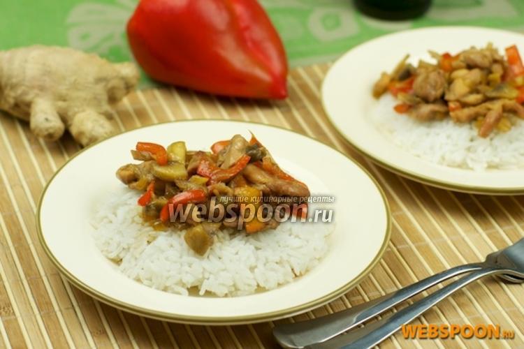 Фото Курица с грибами и сладким перцем