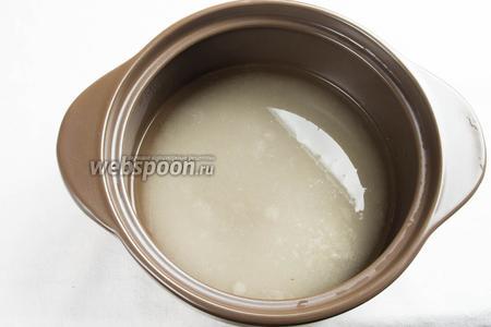Приготовить сироп. Сахар 800 грамм растворить в горячей воде, довести до кипения при постоянном помешивании и прокипятить в течение 2–3 минут. Затем раствор профильтровать через сложенную в 3–4 слоя марлю и снова довести до кипения. Остудить.