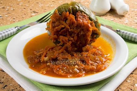Постный перец фаршированный овощами и рисом
