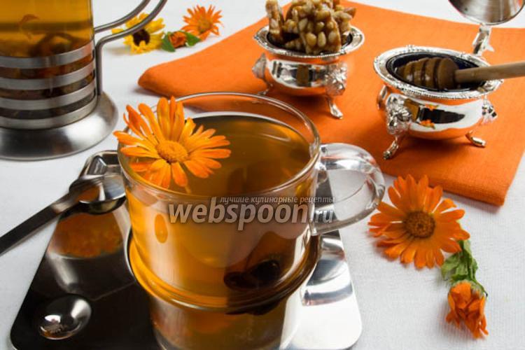 Фото Имбирный чай с календулой и корицей