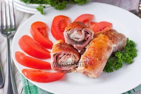 Рулетики из свинины с ветчиной и сыром фета