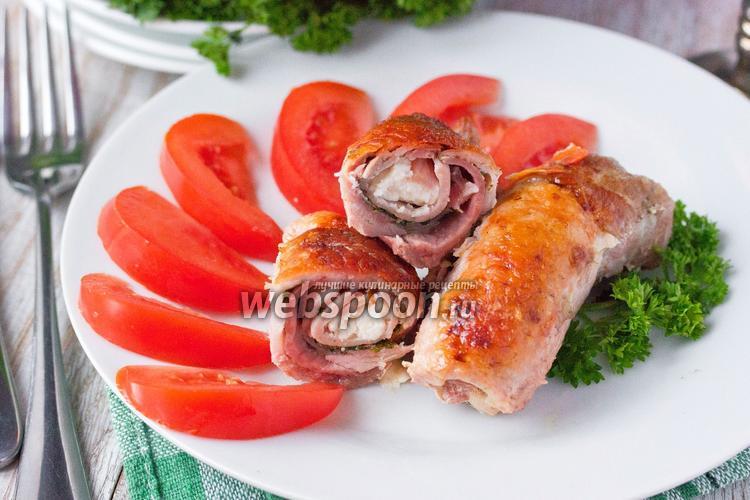 Рецепт Рулетики из свинины с ветчиной и сыром фета