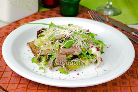Салат с говядиной и зеленью