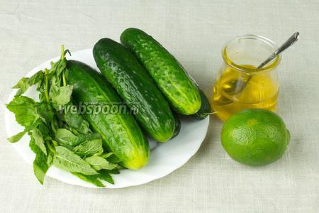 Чтобы приготовить такой смузи возьмите: огурцы, несколько веточек свежей мяты, лайм или лимон, мёд.