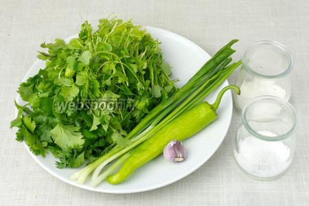 Чтобы приготовить этот соус возьмите: 3 пучка кинзы, 4 пера зелёного лука, острый зелёный перец, зубчик чеснока, сахар, соль.