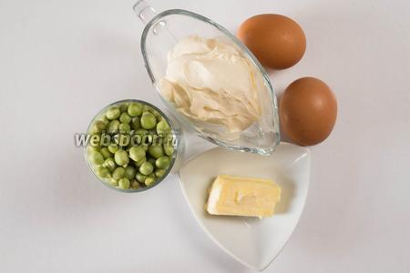 Чтобы приготовить суфле, нужно взять стакан молодого зелёного гороха, масло сливочное, сметану, яйца, соль.