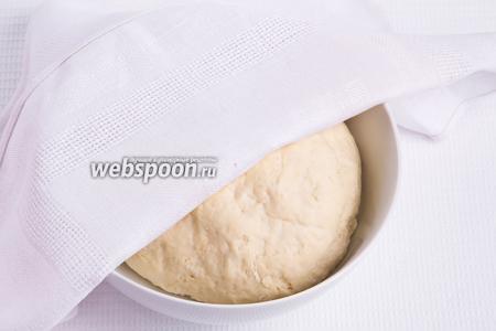 Замешанное тесто накрываем салфеткой и ставим в тёплое место на 30 минут, чтобы оно подошло.