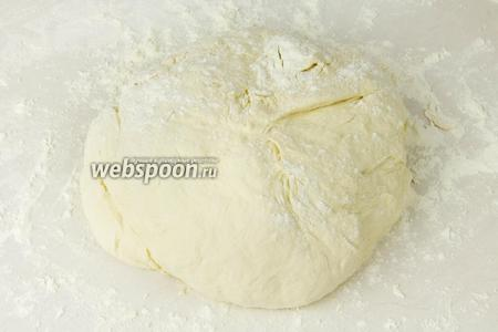 Рабочую поверхность присыпать мукой, выложить тесто и вымешивать уже руками, по необходимости добавляя муку. Тесто должно получиться эластичным, не крутым.