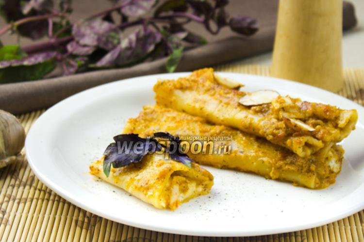 Фото Каннеллони с сыром и томатным пюре