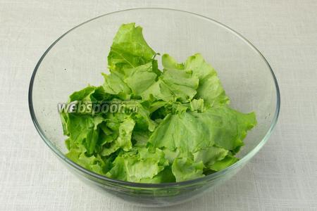 Листья салата промыть и обсушить бумажными салфетками. Порвать прямо в глубокую миску на средние куски.