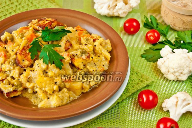 Рецепт Сабджи со сметаной и зелёным горошком