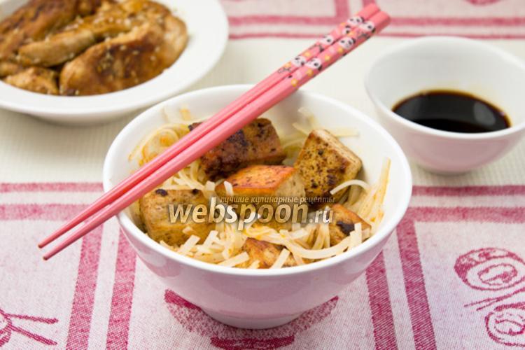 Фото Суп с рисовой лапшой и сыром тофу