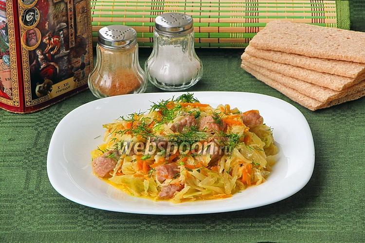 Рецепт Капуста, тушёная со свининой, по-домашнему