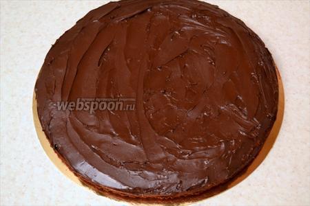 Обильно смажьте нижний корж шоколадной пастой.