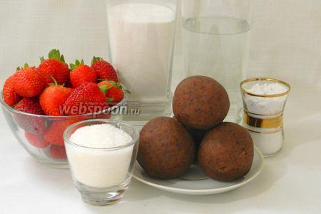Для приготовления домашних сладостей Дайфуку возьмём пасту анко, клубнику, клейкую рисовую муку, воду, сахар, крахмал.