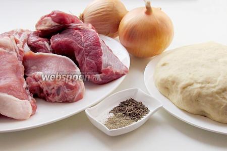 Нам понадобятся такие ингредиенты: тесто для мантов, лук репчатый, мясо свинины и говядины, зира, черный перец, соль, сливочное масло.