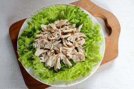 Выложить кусочки курицы, смазать 1 столовой ложкой майонеза.