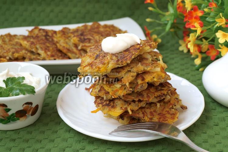 Рецепт Картофельно-тыквенные оладьи с грибами