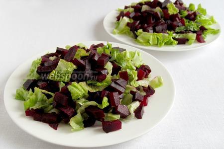 На блюдо уложить нарезанный салат, сверху — кубики свёклы.