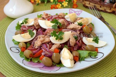 Салат с тунцом, помидорами и яйцом
