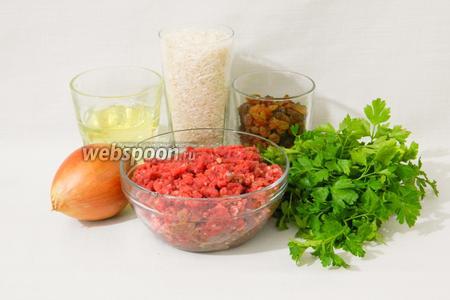 Для приготовления куббе из риса возьмём фарш говяжий, лук, воду, рис, изюм, петрушку, куркуму, карри, перец чёрный и красный молотый, чеснок сушёный, соль по вкусу, масло подсолнечное для фритюра.