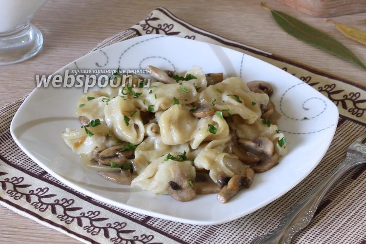 Рецепт Сметанные галушки с грибами