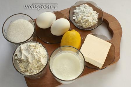 Для приготовления кексов понадобятся сливочное масло, сахар, яйца, крахмал, мука, разрыхлитель, какао, 1 ч. л. лимонной цедры и сок 1/2 лимона, кефир.