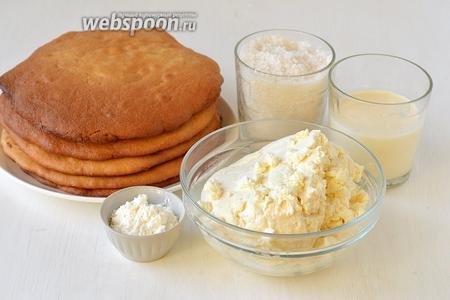 Для приготовления торта «Диво дивное» нам понадобятся  медовые коржи , творог, сахар, ванильный пудинг, яйца, молоко.