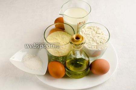 Чтобы приготовить тесто для таких блинов, нужно взять яйца, пшеничную и кукурузную муку, молоко, оливковое масло, соль, сахар.