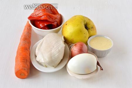 Для приготовления салата «Красная шапочка» нам понадобится маринованный сладкий перец,  рецепт майонеза из перепелиных яиц , небольшое яблоко, небольшая морковь, куриное филе, лук, яйца.