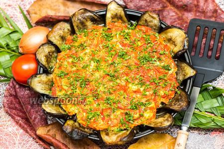 Баклажаны с фаршем под томатной заливкой