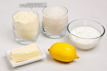 Для приготовления печенья понадобится кукурузная мука, сахар, сливочное масло, кефир, цедра одного лимона.