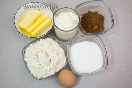 Для кексов нам понадобятся: сахар, какао, яйцо, греческий йогурт, мука, сливочное масло, разрыхлитель.