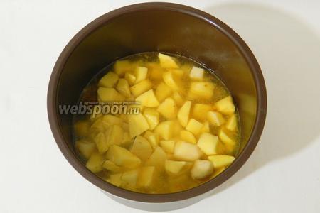 Через 40 минут открываем мультиварку, добавляем к мясу картофель. Доливаем воды так, чтобы она была вровень с картофелем. Пробуем на соль. Можно добавить другии специи по вкусу.