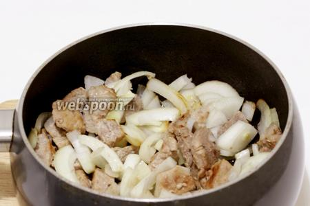 В паре ложек масла обжарить свинину, затем добавить к ней лук.