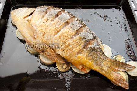 Спустя 10 минут нужно повторить глазировку яйцом и продолжать запекать рыбу.