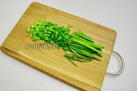 Если вы хотите сделать блинчики яркими, используйте в блинном тесте мелко нарезанный зелёный лук.